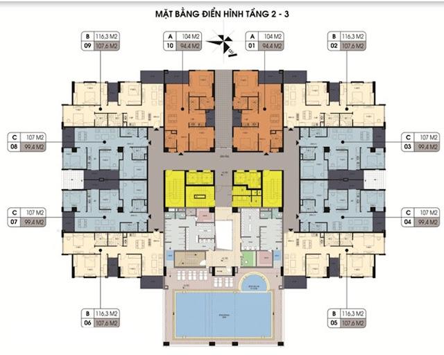 Mặt bằng căn hộ tầng 2,3 chung cư Northern Diamond