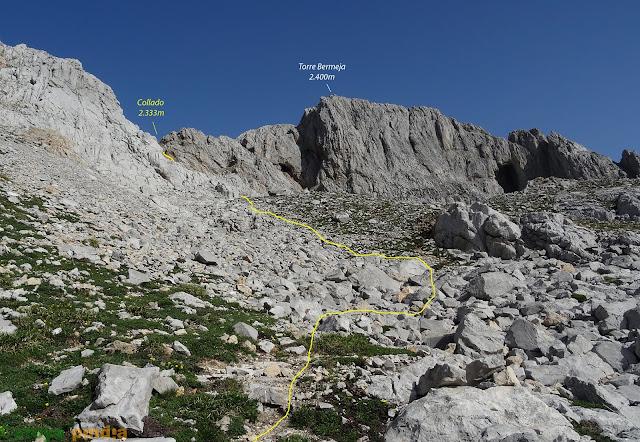Vista hacia la Torre Bermeja y el collado al que nos dirigimos