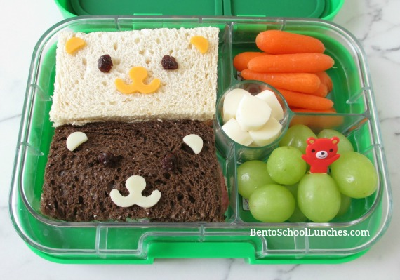 Bears bento lunch in Yumbox Panino
