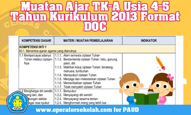 Download Muatan Ajar TK-A Usia 4-5 Tahun Kurikulum 2013