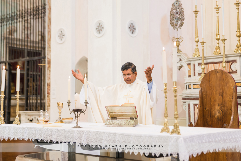 Catholic priest celebrating wedding ceremony
