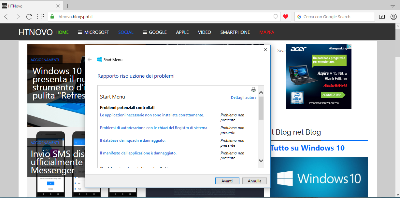 Fix Menu Start Windows 10 problemi rilevati