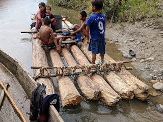 family on log raft, Amazon Basin, Ecuador