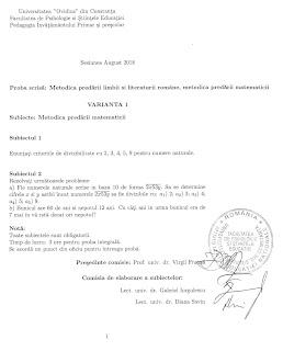 Subiecte grad II matematica invatatori - Constanta 2018