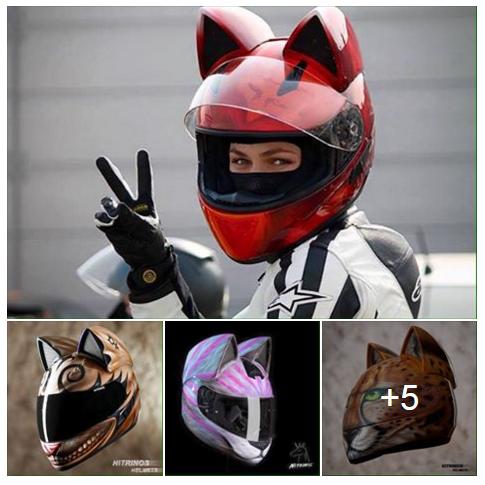 Cat Motorcyle Helmet Untuk Pengguna Motorsikal Wanita