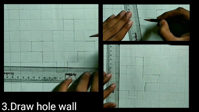 Drawing hole wall by using one point perspectives