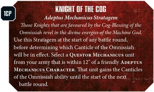 Estratagema Imperial Knights Adeptus Mechanicus