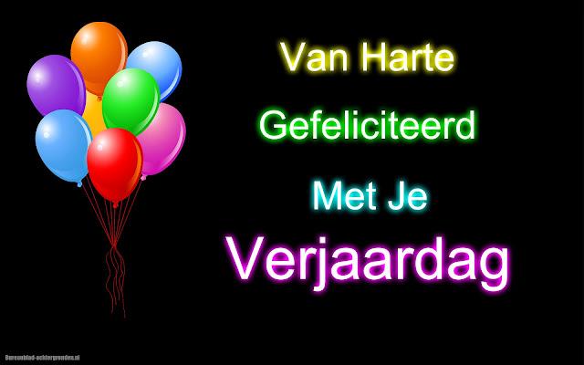 Tekst van harte gefeliciteerd met je verjaardag met gekleurde ballonnen