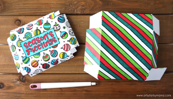 Color your own festive printable DIY Christmas Gift Boxes for holiday gifting! #GiveColorfully #CollectiveBias