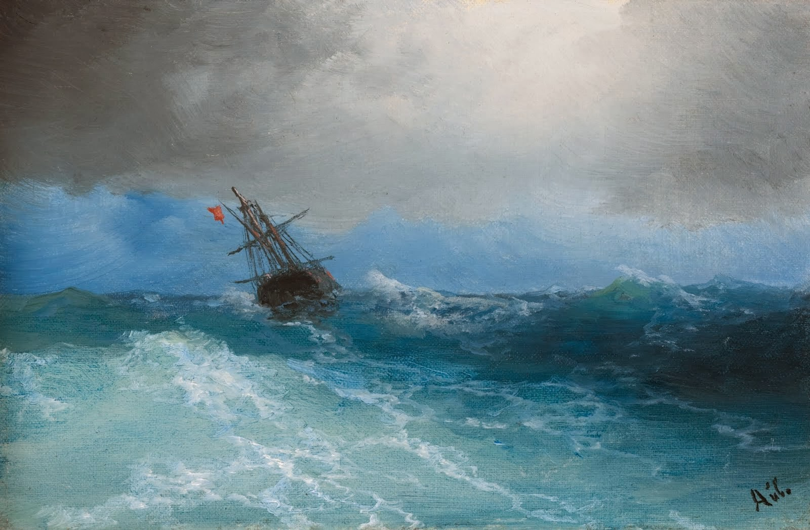"""Ship in Stormy Sea"" 1858"