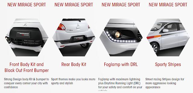Fitur Tambahan Mobil Mitsubishi New Mirage Sport