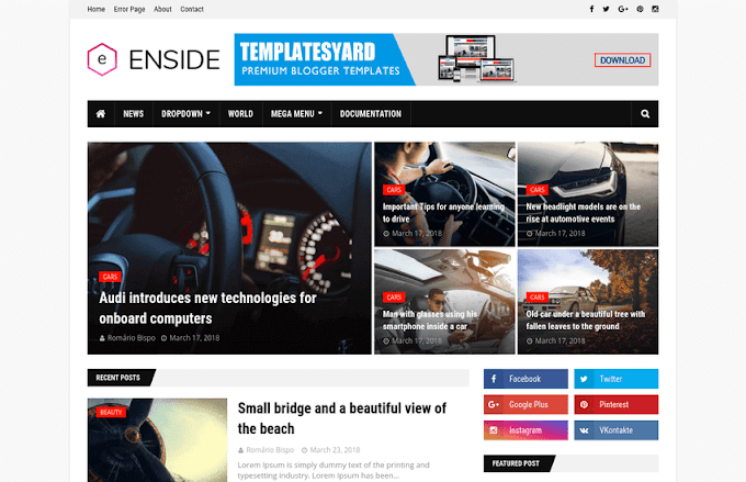 Download Free Premium Enside News Magazine Blogger Template