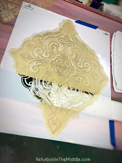 medallion stencil application of golden ticket paint