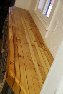 Pine butcher block counter with mineral oil-beeswax finish