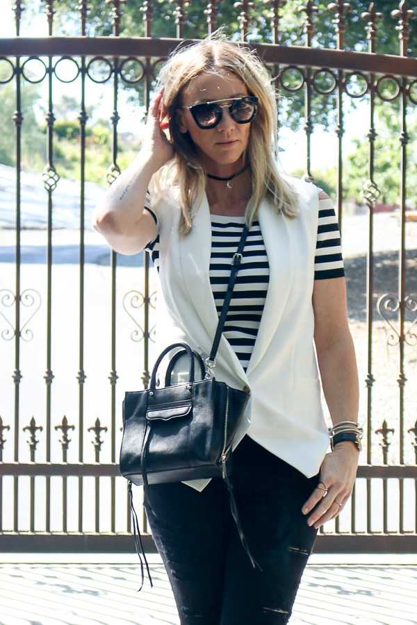 striped fitted crop top with vest