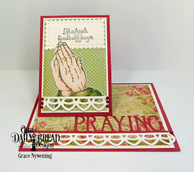 Our Daily Bread Designs Stamp Set: Handle With Prayer, Our Daily Bread Designs Custom Dies: Praying Hands, Praying Border, Deco Border, Filagree Frames, Our Daily Bread Designs Paper Collection: Blushing Rose