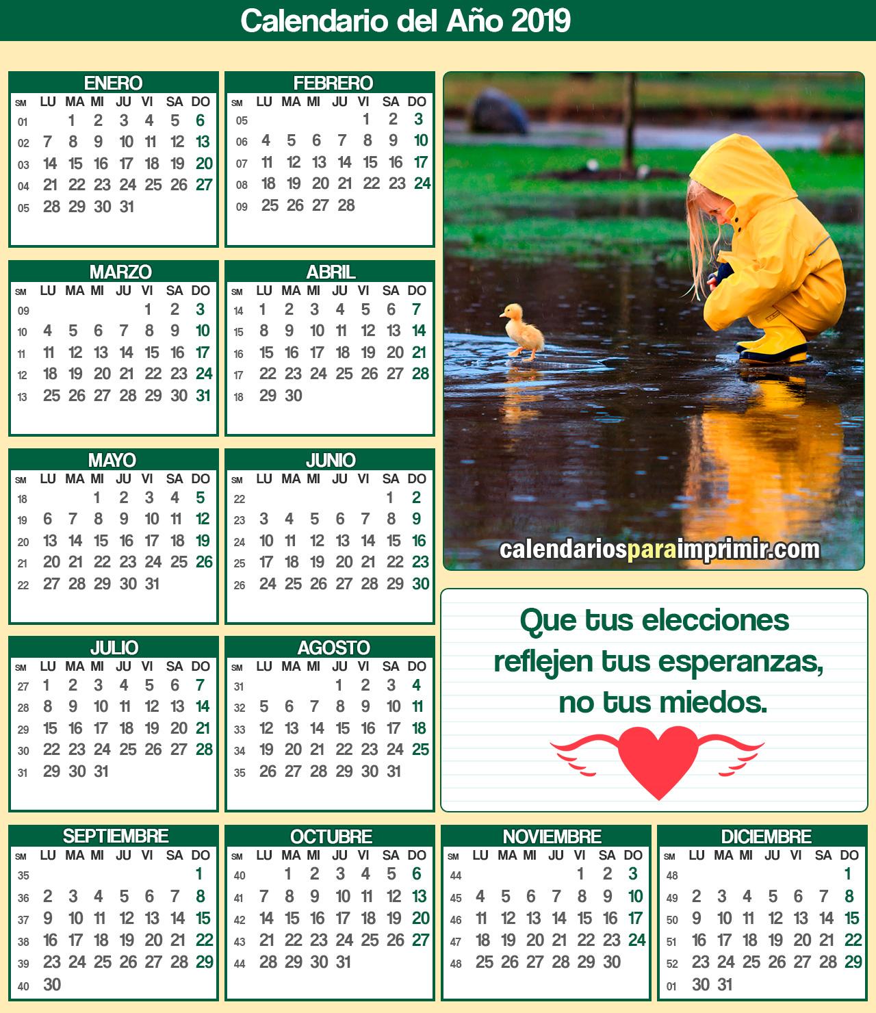 calendarios para imprimir con frases de reflexion