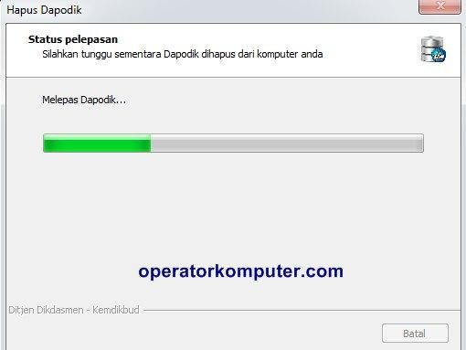 Silakan tunggu sementara Dapodik dihapus dari komputer Anda