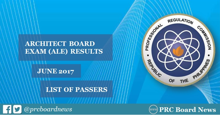 PRC releases June 2017 Architect ALE board exam results