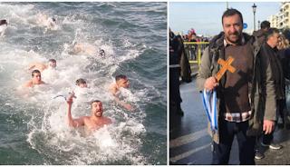 Θεσσαλονίκη: Άντρας έπιασε τον σταυρό στον παγωμένο Θερμαϊκό και φώναξε «Για τη Μακεδονία»