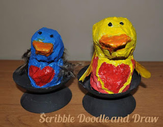 kids crafts paper mache love birds