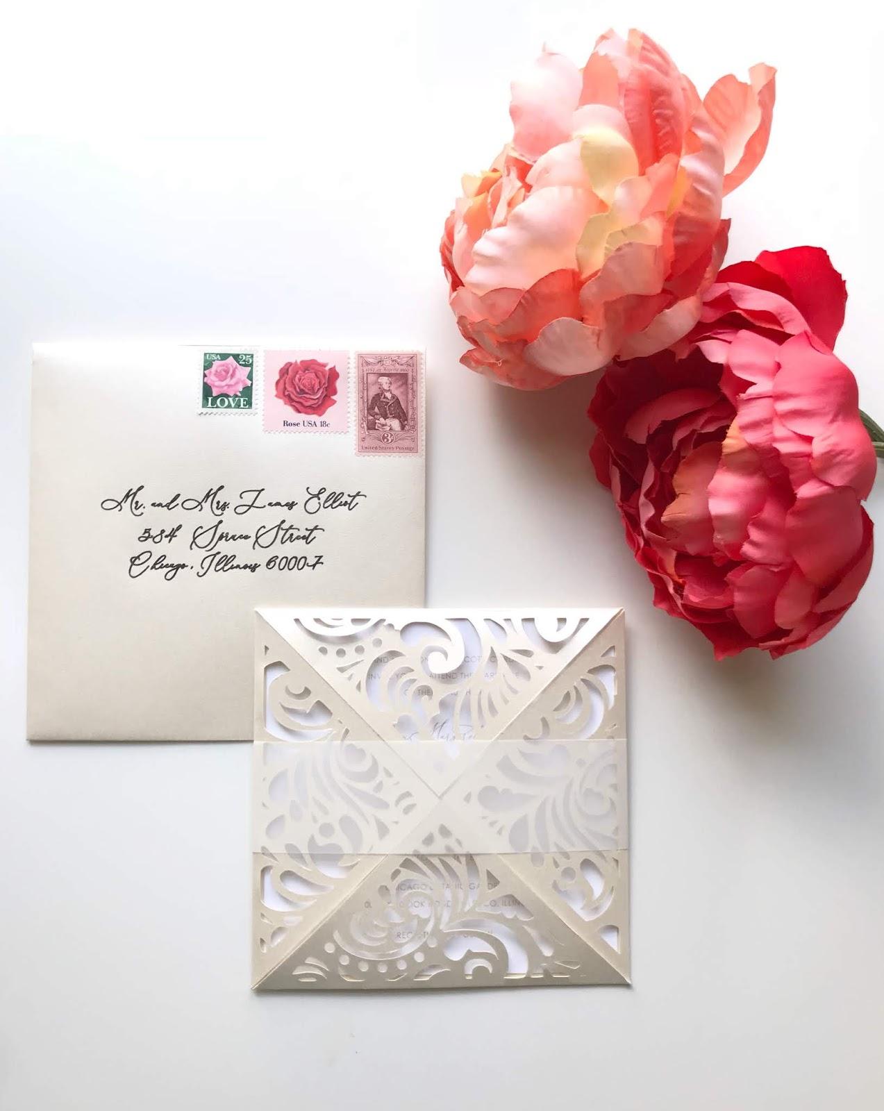 Ivory and White Die Cut Wedding Invitation – CutCardStock