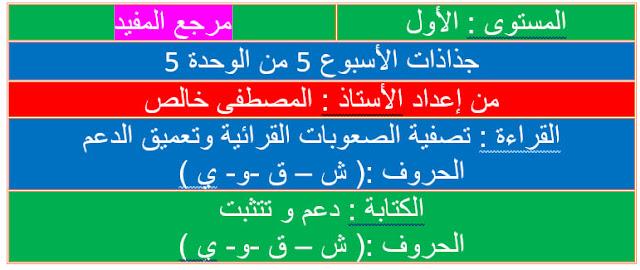 جذاذات الأسبوع الخامس تقويم ودعم من الوحدة الخامسة المفيد في اللغة العربية للمستوى الأول ابتدائي