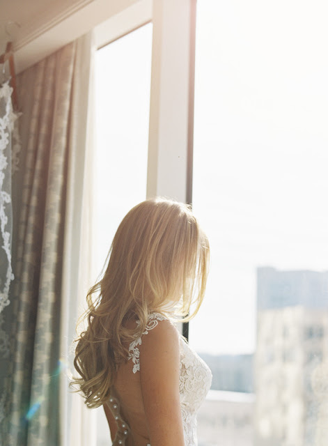 Jenna by the window before her Willow Ridge Country Club Wedding | Karen Hill Photography