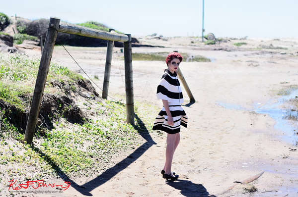 Black and White striped two piece couture outfit on location, Sydney Australia.