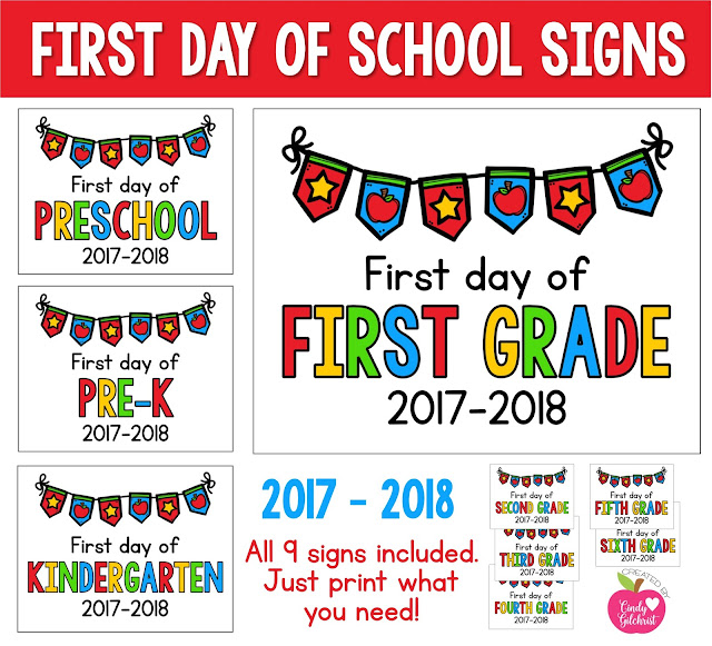 https://www.teacherspayteachers.com/Product/2017-2018-First-Day-of-School-Signs-FREEBIE-Preschool-PreK-Kinder-1st-2nd-3255556