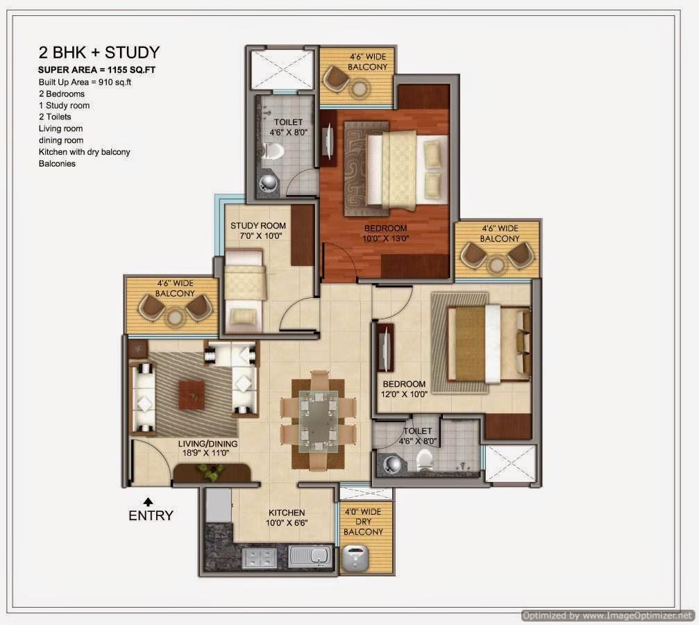1155-sq.ft.-bhk-study-floor-plan-Prateek-Grand-City