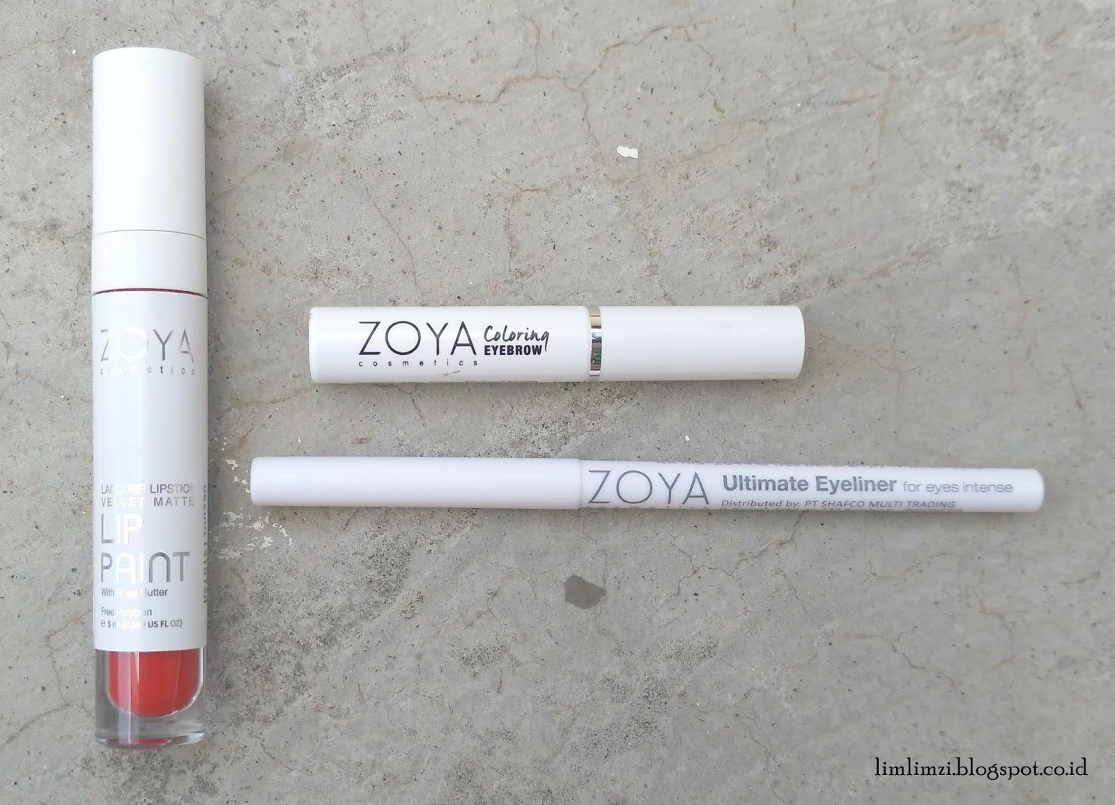 Review Zoya Lip Paint Pure Red Coloring Eyebrow Mocca Dan Ultimate Eyeliner Black Ink