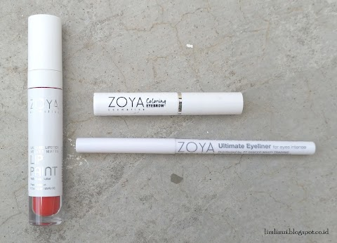 [REVIEW] Zoya Lip Paint (Pure Red), Zoya Coloring Eyebrow (Mocca), dan Zoya Ultimate Eyeliner (Black Ink)