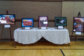 "Cramer Imaging's framed and matted fine art photographs at the ""Expressions of Light"" art exhibition in Pocatello, Idaho"