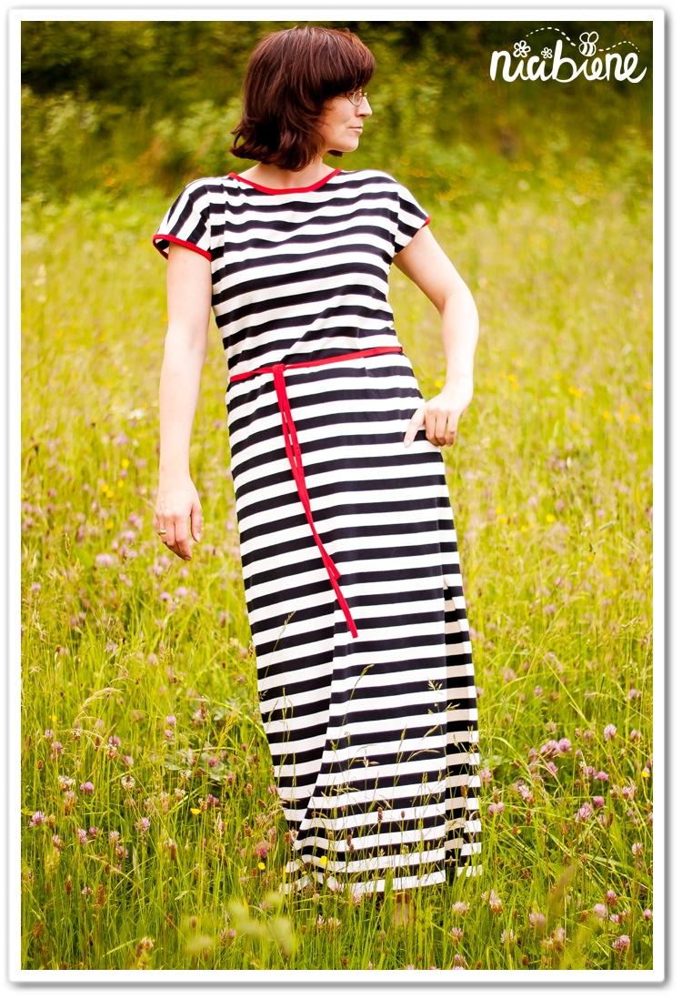 Kimono Tee, Maxikleid, Ringelkleid, Maxikleid, Streifen schwarz-weiß