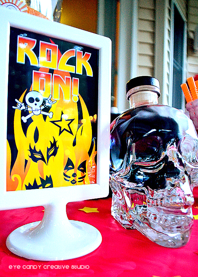 rock on party sign, party decorations for rocker party, glass skull