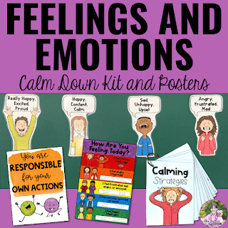 Image of feelings and emotions calm down kit and posters.