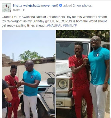 Shatta Wale Gets A G-Wagon As Birthday Gift from Bloa Ray and Kwabena Duffour