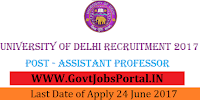 Delhi University Recruitment 2017-Assistant Professor