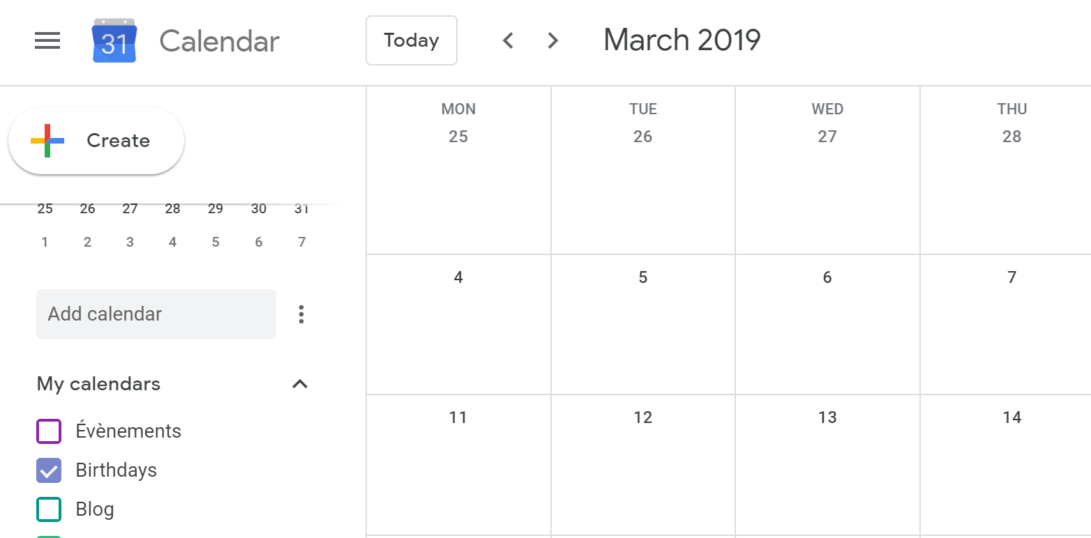 capture d'écran de Google Calendar