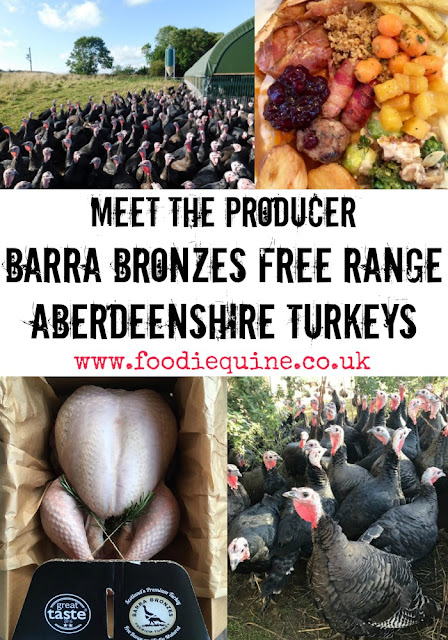 www.foodiequine.co.uk Meet the Aberdeenshire producer. Talking Turkey with Craig Michie of Barra Bronzes. Great Taste award winning free range slow grown Scottish turkeys for Thanksgiving and Christmas.