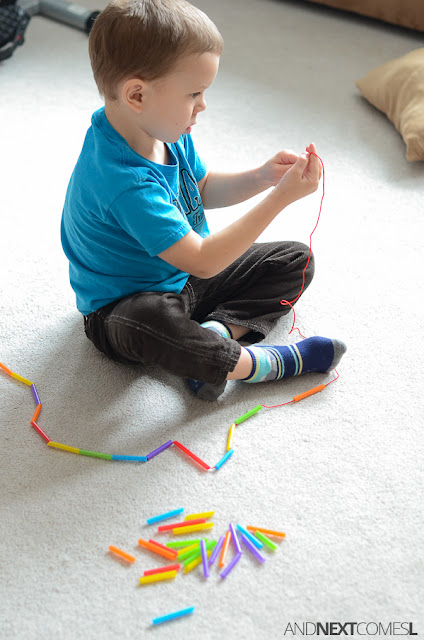 DIY skipping rope fine motor craft for kids from And Next Comes L