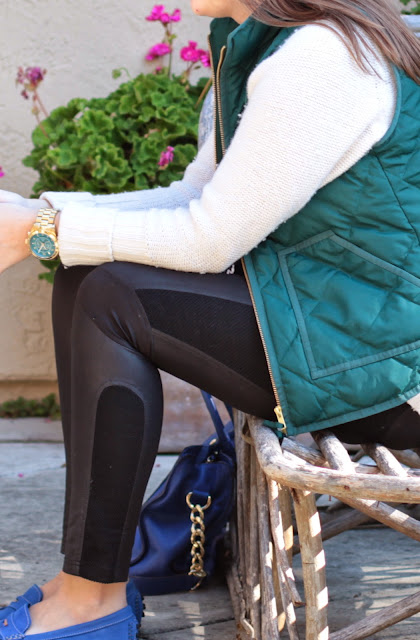 leather leggins, j. crew vest, stop hunger watch, michael kors watch, layers, vest and sweater