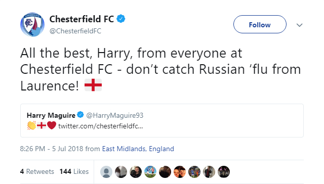 Chesterfield wish good luck to England defender Harry Maguire