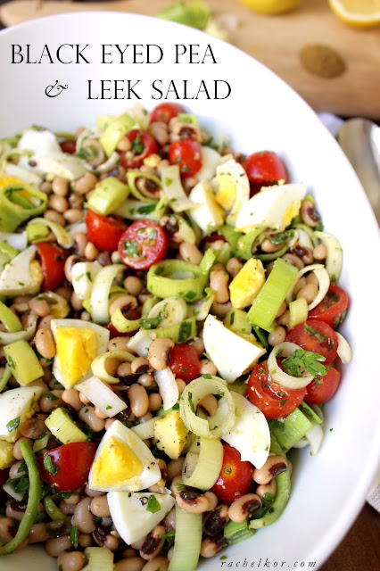 This Black Eyed Pea and Leek Salad is simple, quick, and light. The lemon juice, onions, beans, eggs and tomatoes all add to this salad's wonderful flavor.