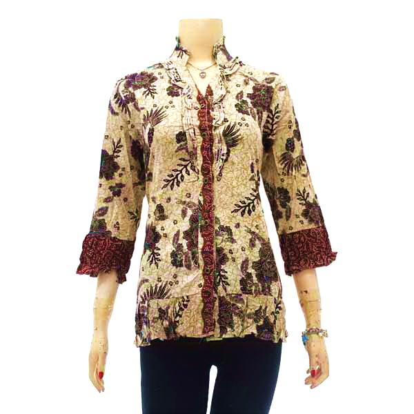 Contoh Gambar Baju Batik Modern: Model Baju Batik Kantor Terbaru Wanita Kombinasi Atas