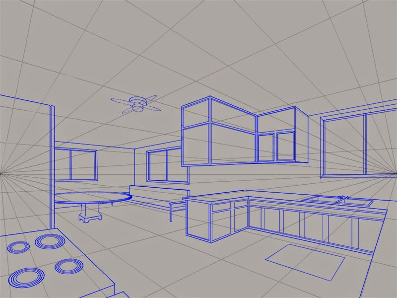 Kight Neale: A two-point perspective view of the kitchen ...