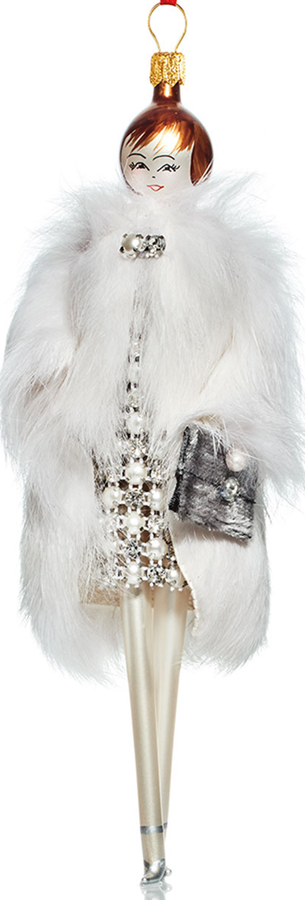 Neiman Marcus De Carlini Jill with White Fur Coat Ornament