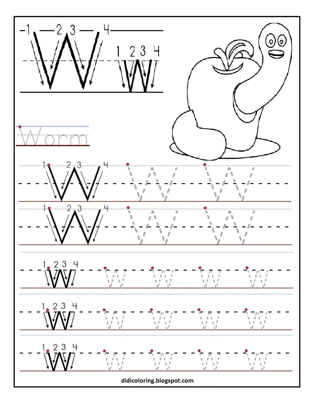 Free Printable Tracing Worksheet St For Your Kid To Learn And Write Enjoy Writing Letter W And