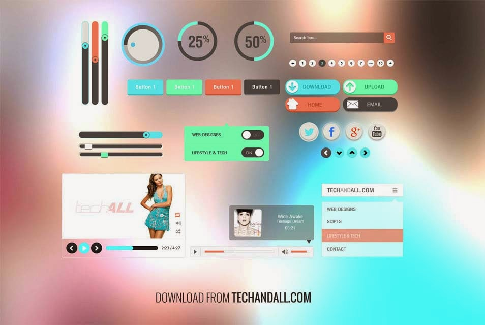 Simple UI Kit with Flat Colors